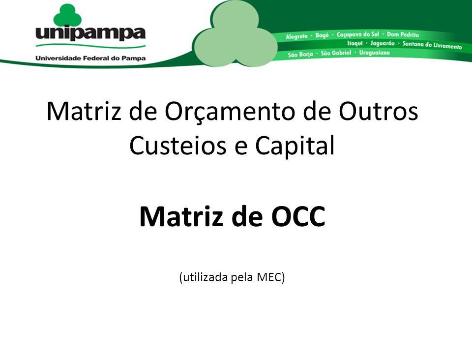 Matriz de Orçamento de Outros Custeios e Capital Matriz de OCC (utilizada pela MEC)