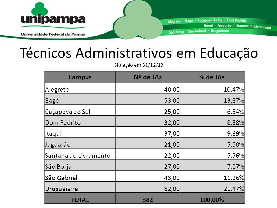 Técnicos Administrativos em Educação Situação em 31/12/13