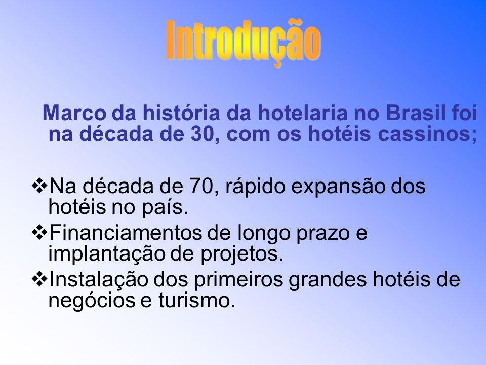 Introdução Marco da história da hotelaria no Brasil foi na década de 30, com os hotéis cassinos;