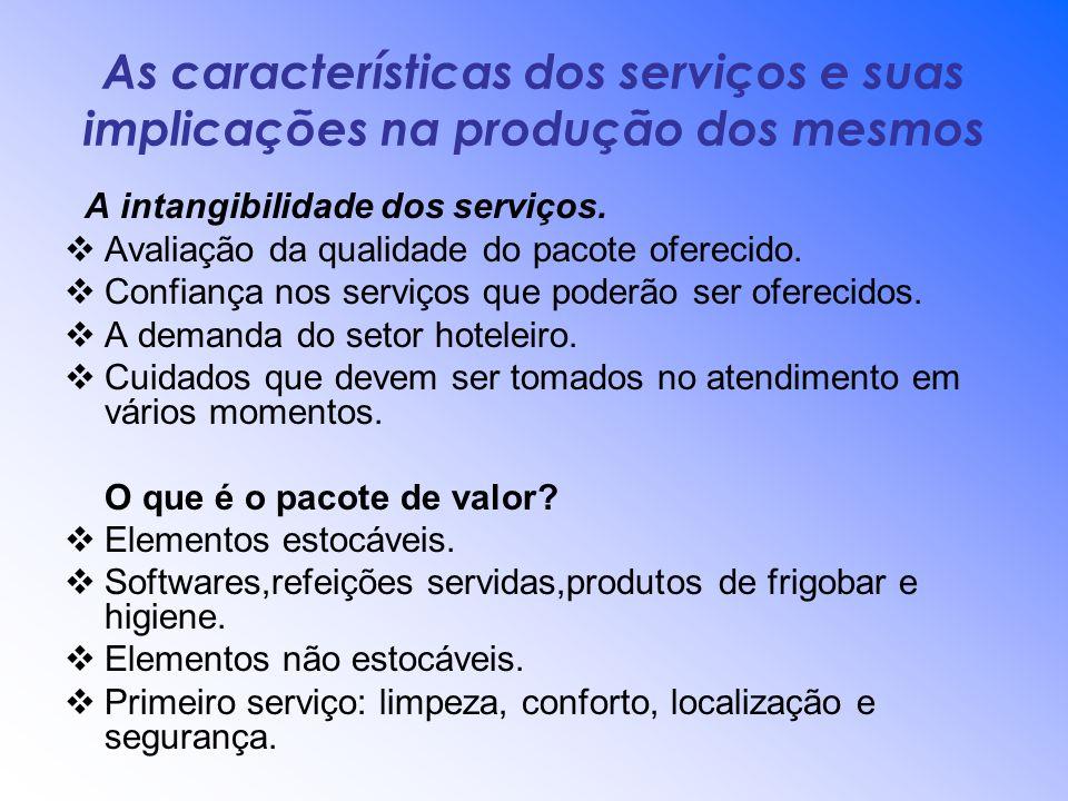 As características dos serviços e suas implicações na produção dos mesmos