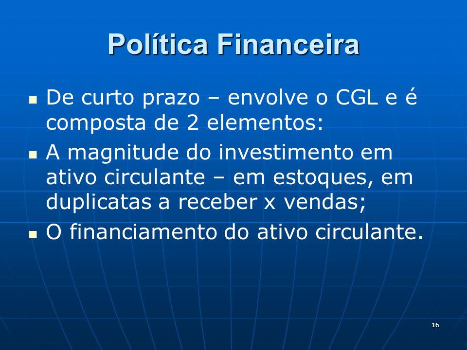 Política Financeira De curto prazo – envolve o CGL e é composta de 2 elementos: