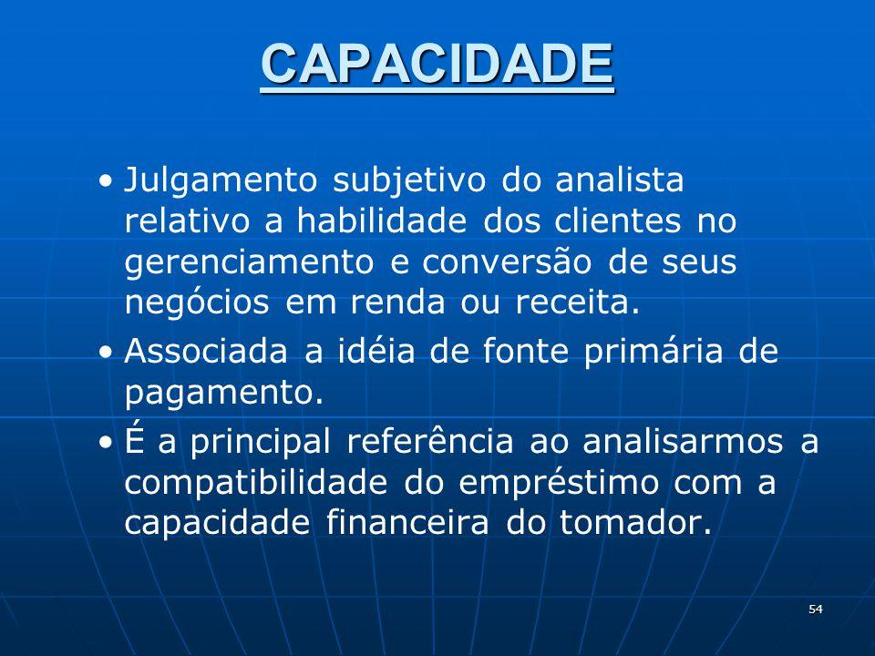 CAPACIDADE Julgamento subjetivo do analista relativo a habilidade dos clientes no gerenciamento e conversão de seus negócios em renda ou receita.