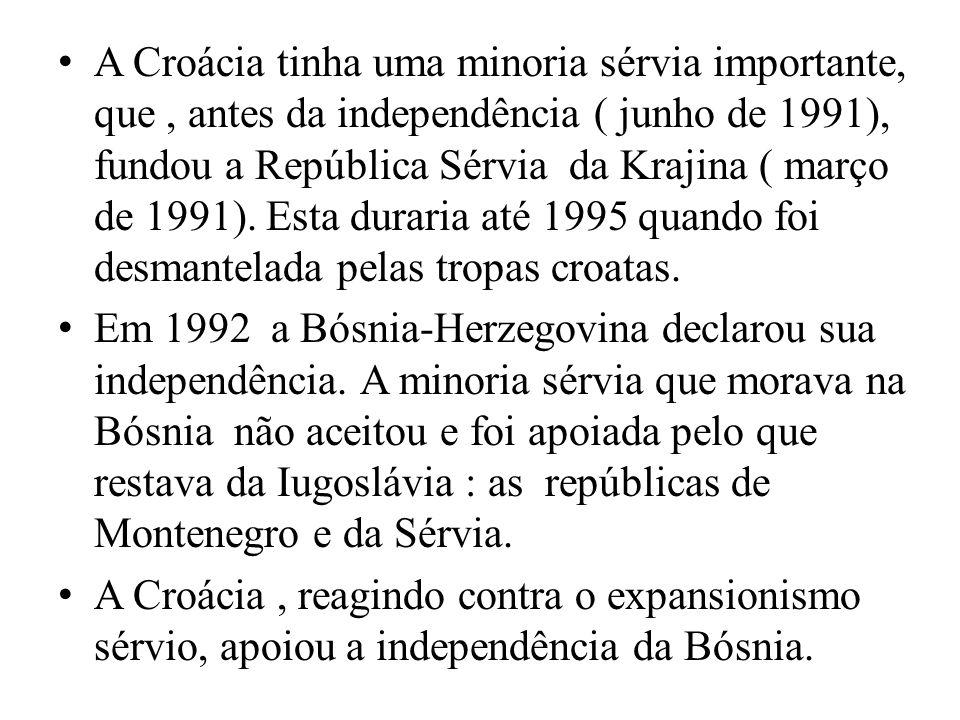 A Croácia tinha uma minoria sérvia importante, que , antes da independência ( junho de 1991), fundou a República Sérvia da Krajina ( março de 1991). Esta duraria até 1995 quando foi desmantelada pelas tropas croatas.