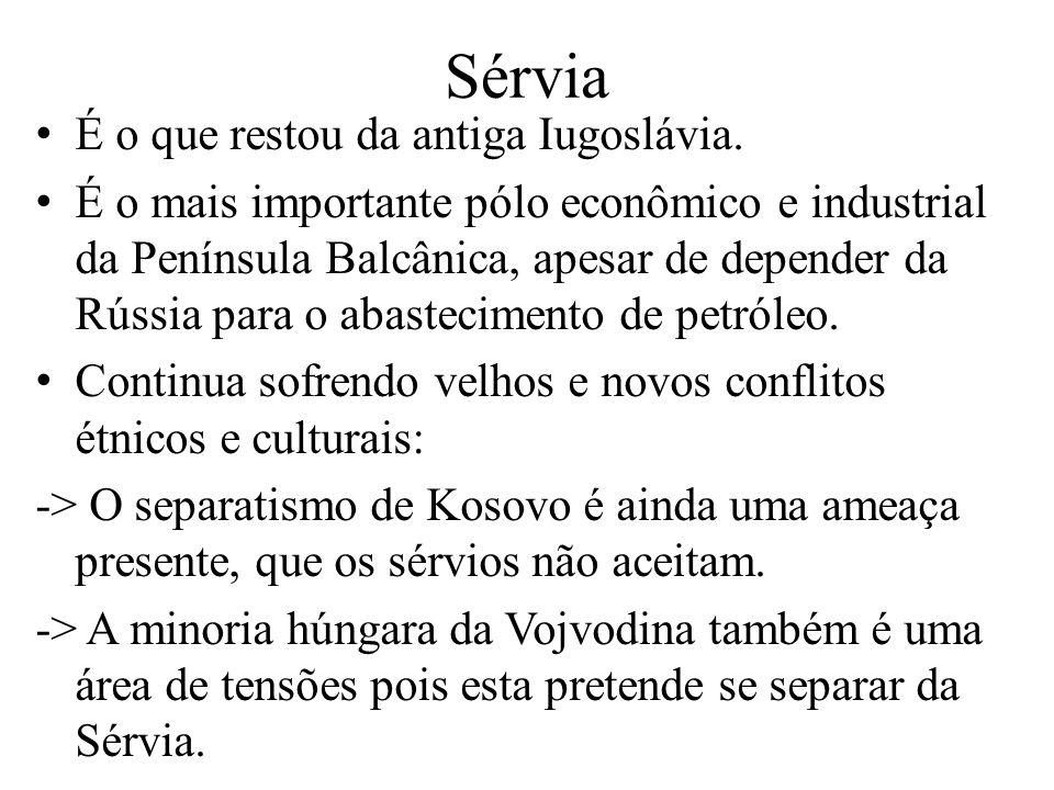 Sérvia É o que restou da antiga Iugoslávia.