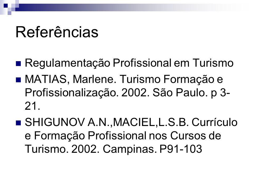 Referências Regulamentação Profissional em Turismo