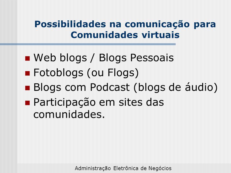 Possibilidades na comunicação para Comunidades virtuais