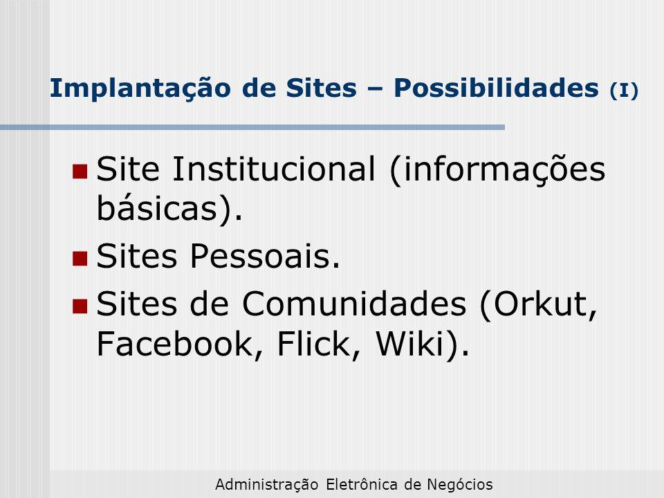 Implantação de Sites – Possibilidades (I)