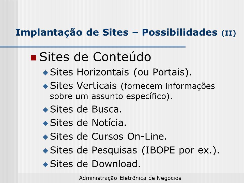 Implantação de Sites – Possibilidades (II)