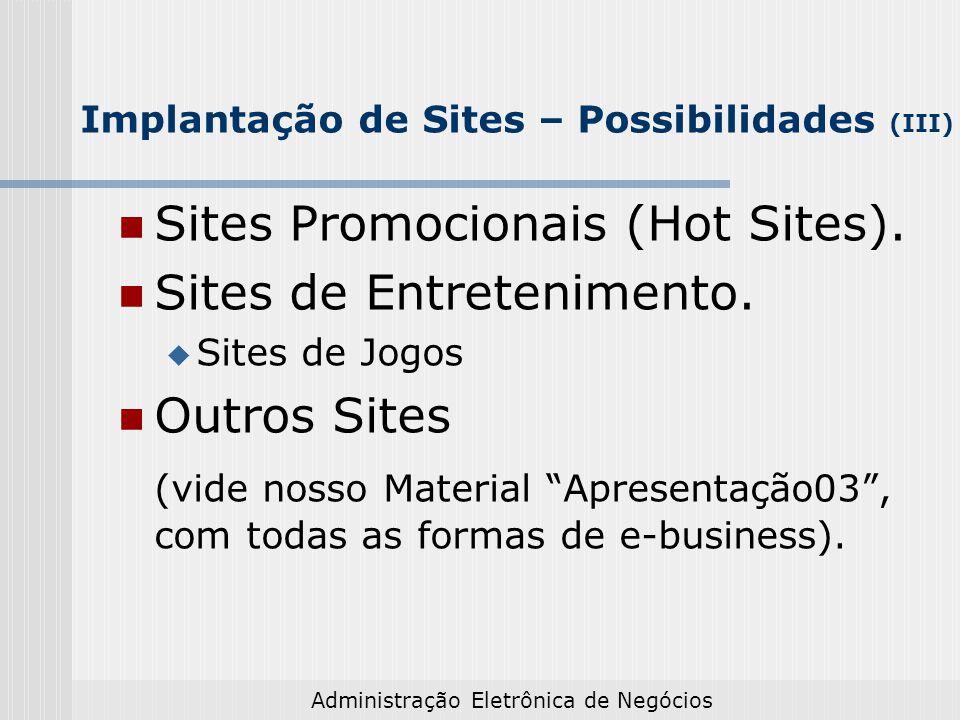 Implantação de Sites – Possibilidades (III)