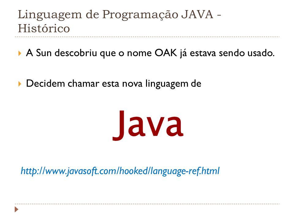 Linguagem de Programação JAVA - Histórico