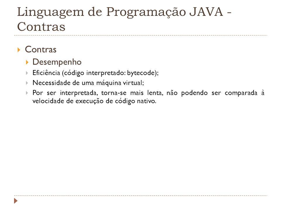 Linguagem de Programação JAVA - Contras