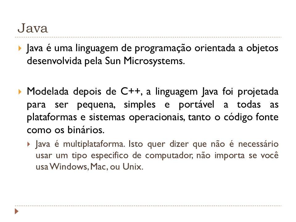 Java Java é uma linguagem de programação orientada a objetos desenvolvida pela Sun Microsystems.