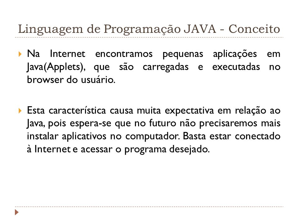 Linguagem de Programação JAVA - Conceito
