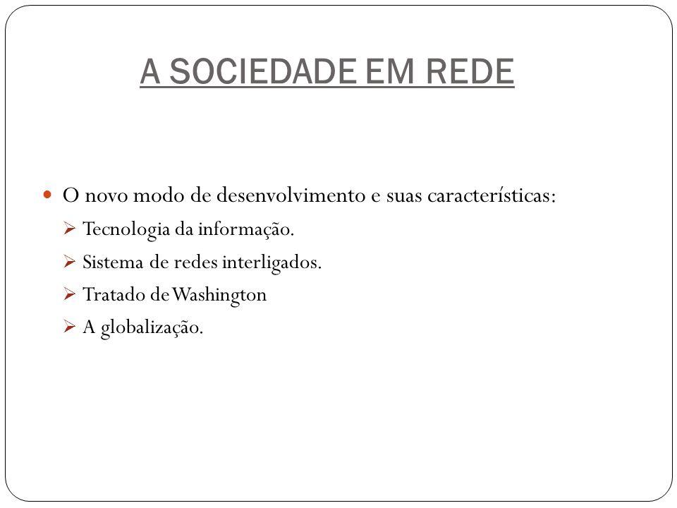A SOCIEDADE EM REDE O novo modo de desenvolvimento e suas características: Tecnologia da informação.