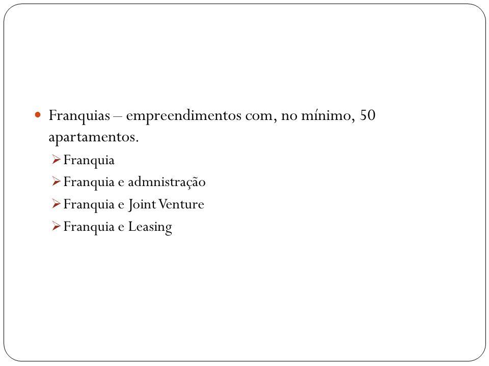 Franquias – empreendimentos com, no mínimo, 50 apartamentos.