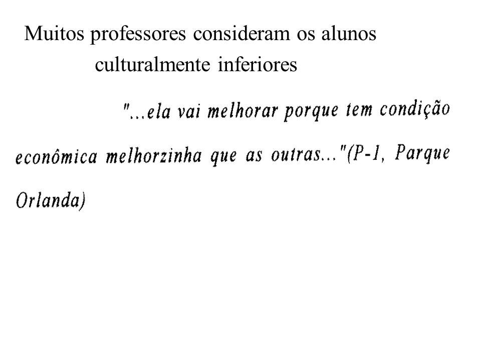 Muitos professores consideram os alunos culturalmente inferiores