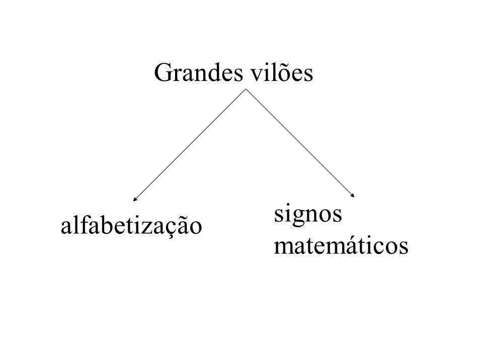 Grandes vilões signos matemáticos alfabetização