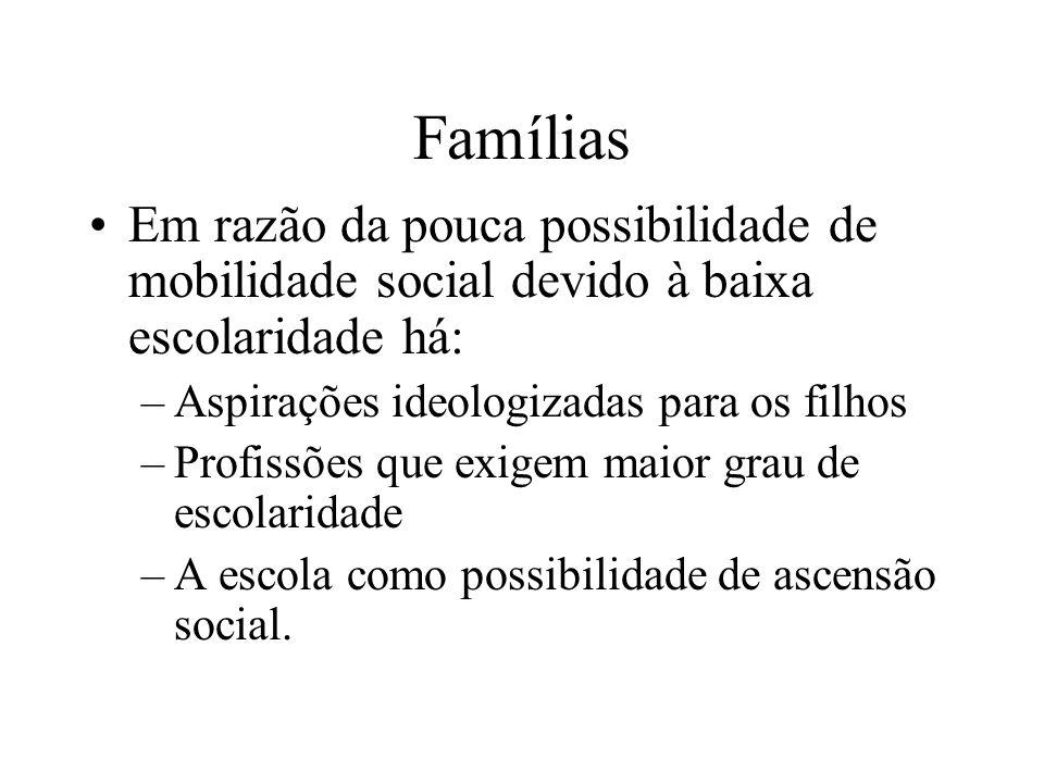 Famílias Em razão da pouca possibilidade de mobilidade social devido à baixa escolaridade há: Aspirações ideologizadas para os filhos.