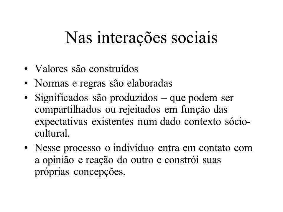 Nas interações sociais