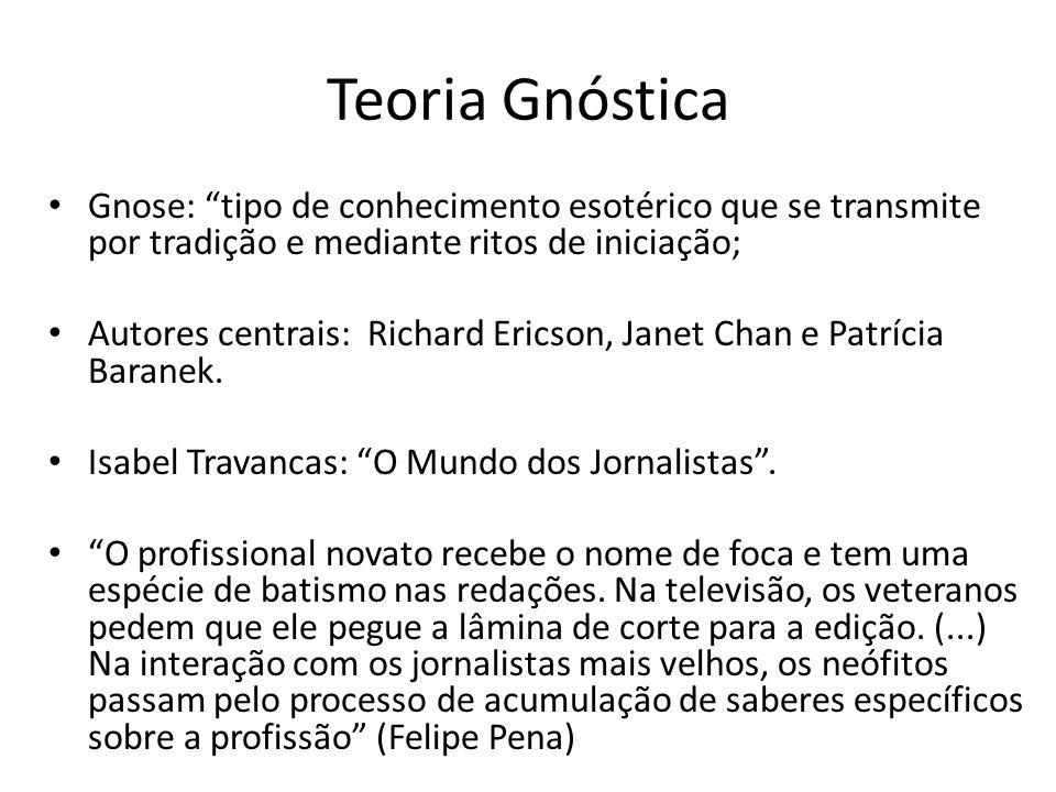 Teoria Gnóstica Gnose: tipo de conhecimento esotérico que se transmite por tradição e mediante ritos de iniciação;