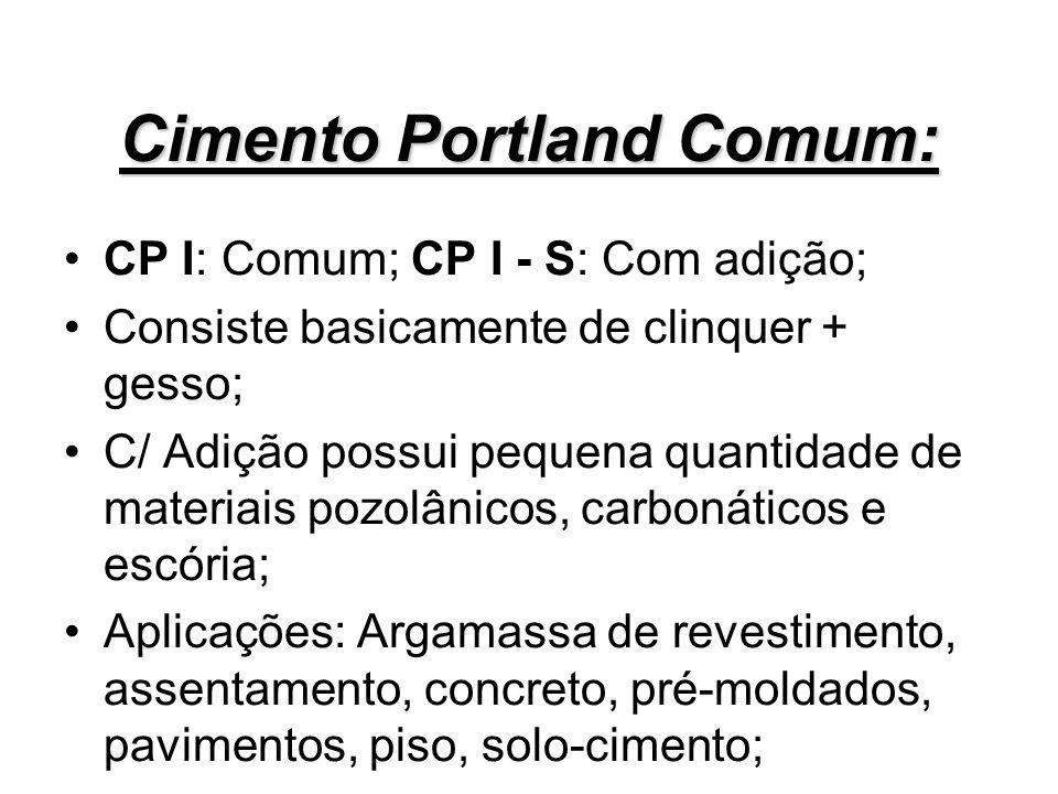 Cimento Portland Comum: