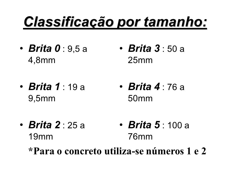 Classificação por tamanho: