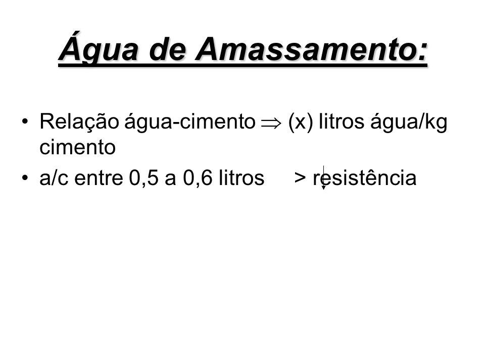 Água de Amassamento: Relação água-cimento  (x) litros água/kg cimento