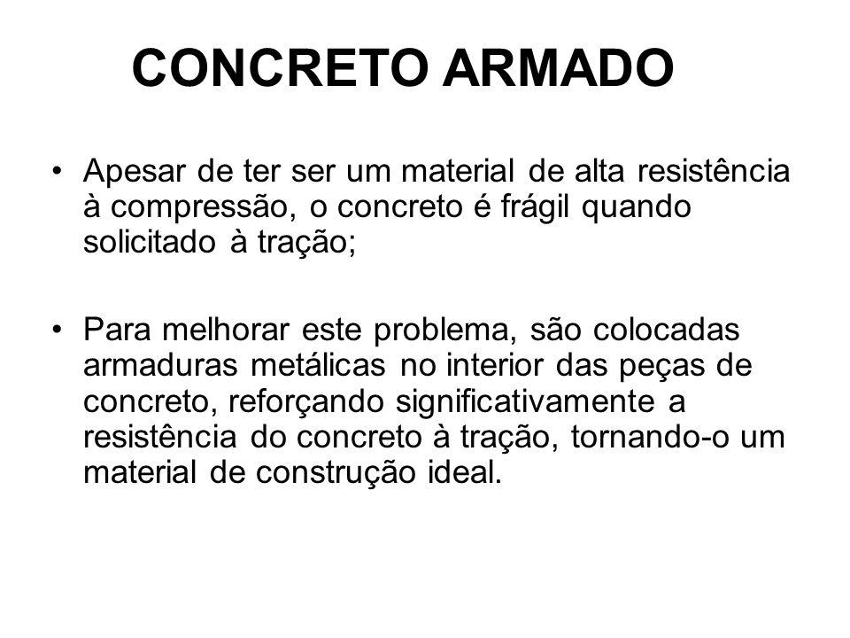 CONCRETO ARMADO Apesar de ter ser um material de alta resistência à compressão, o concreto é frágil quando solicitado à tração;