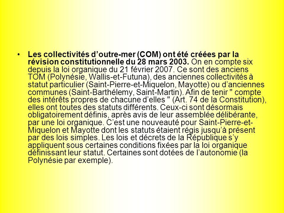 Les collectivités d'outre-mer (COM) ont été créées par la révision constitutionnelle du 28 mars 2003.
