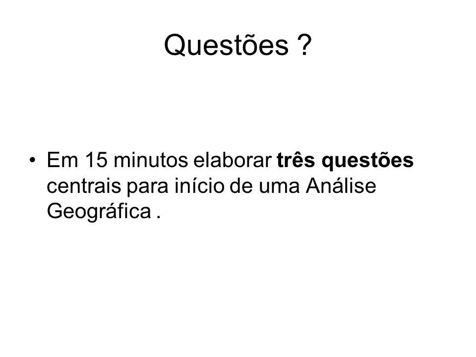 Questões Em 15 minutos elaborar três questões centrais para início de uma Análise Geográfica .