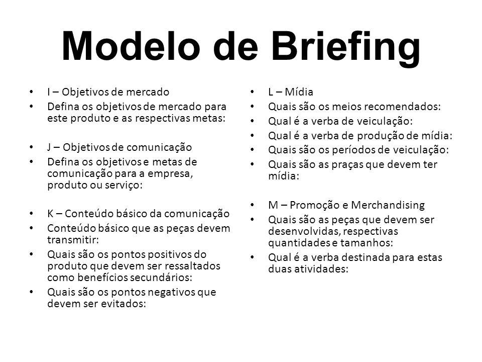 Modelo de Briefing I – Objetivos de mercado