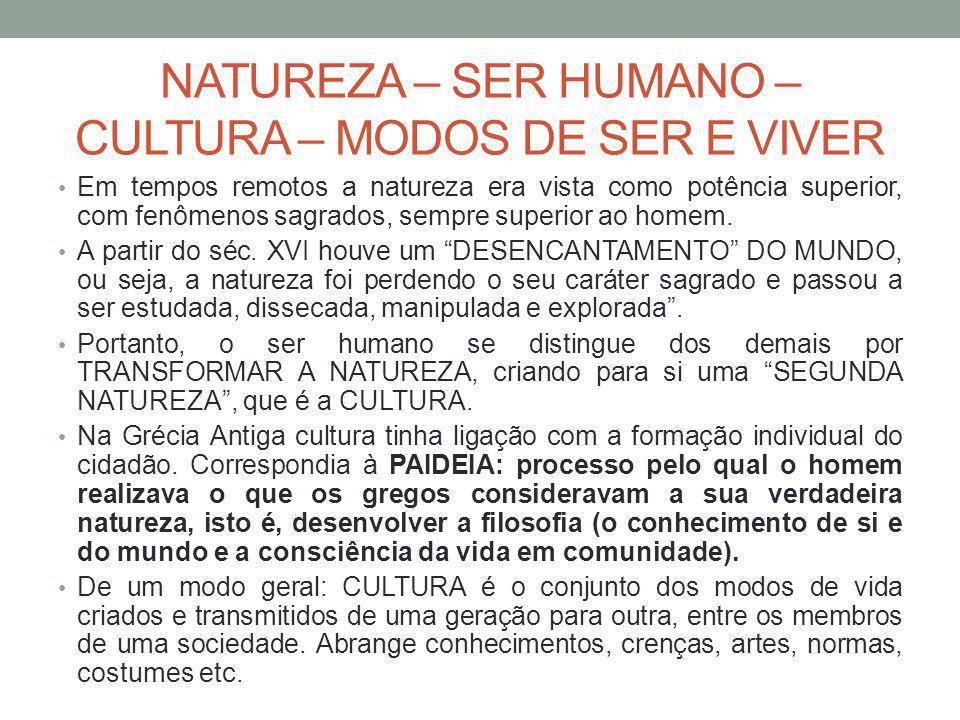 NATUREZA – SER HUMANO – CULTURA – MODOS DE SER E VIVER