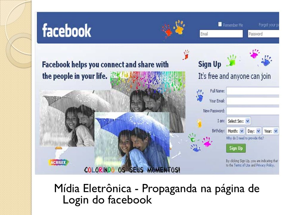 Mídia Eletrônica - Propaganda na página de Login do facebook