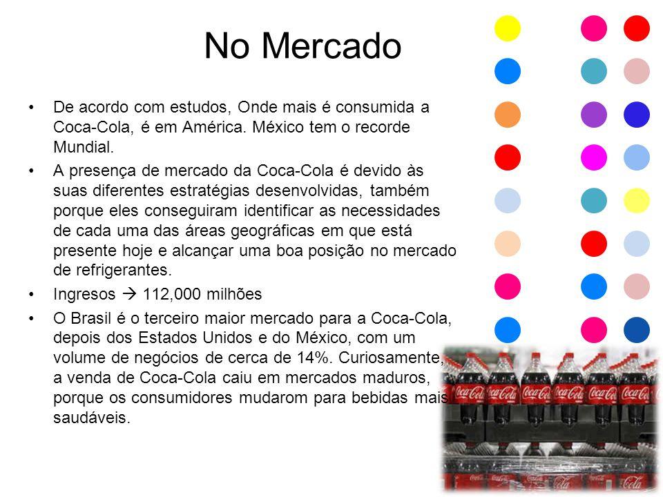 No Mercado De acordo com estudos, Onde mais é consumida a Coca-Cola, é em América. México tem o recorde Mundial.