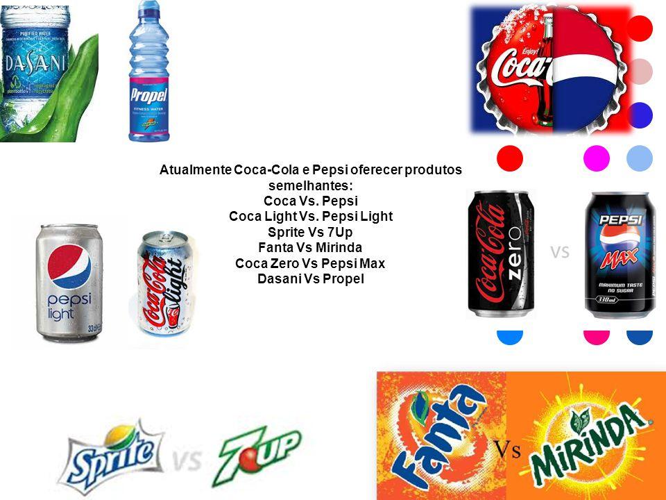 Atualmente Coca-Cola e Pepsi oferecer produtos semelhantes: Coca Vs