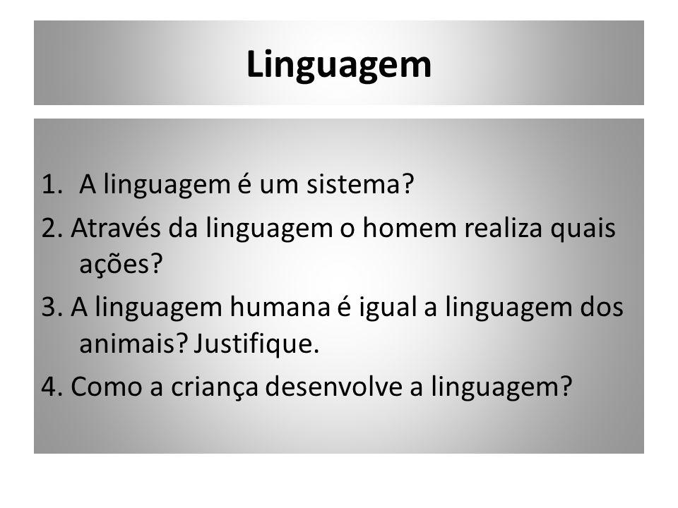 Linguagem A linguagem é um sistema