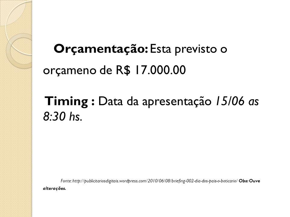 Orçamentação: Esta previsto o orçameno de R$ 17. 000