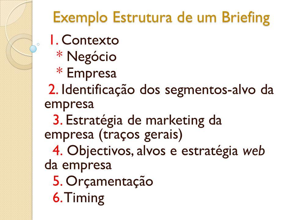 Exemplo Estrutura de um Briefing