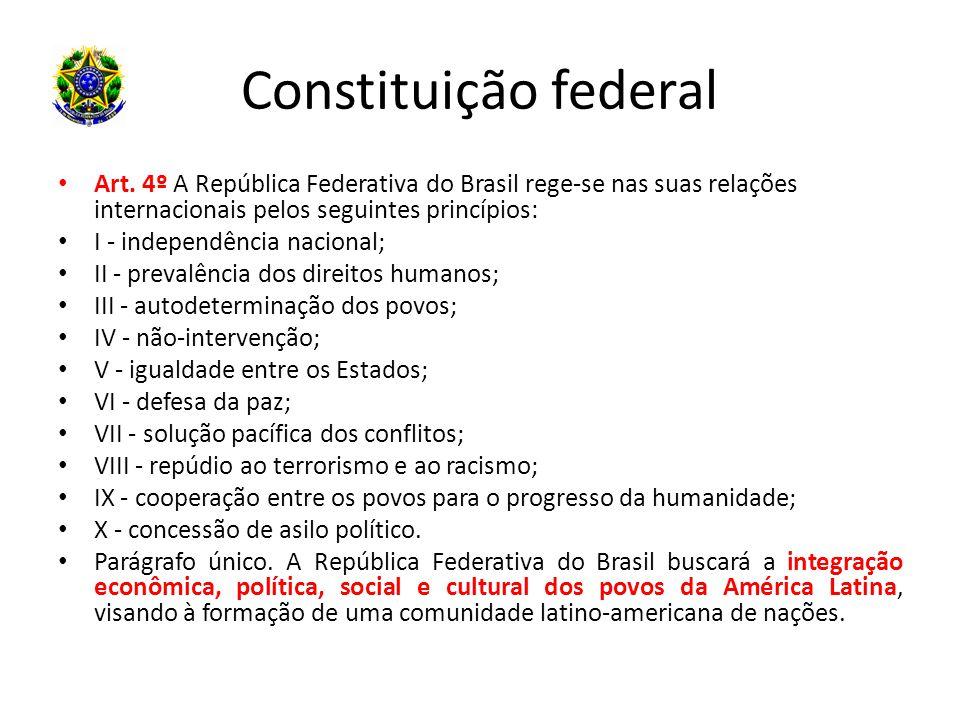 Constituição federal Art. 4º A República Federativa do Brasil rege-se nas suas relações internacionais pelos seguintes princípios: