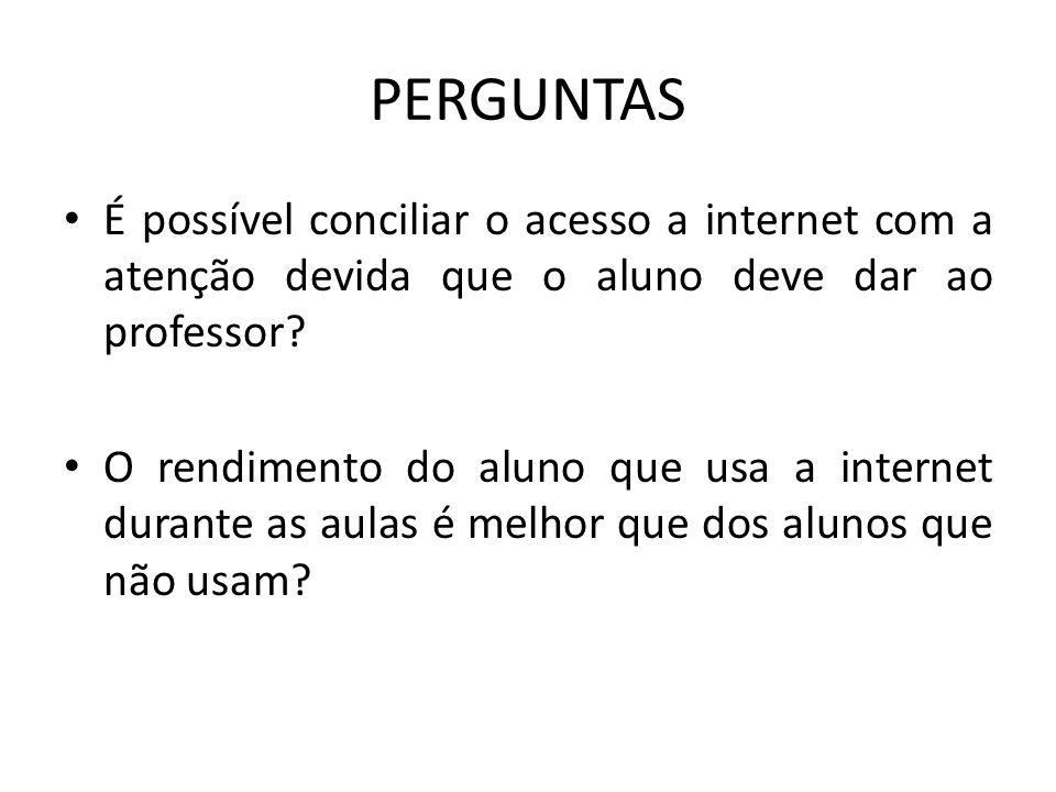 PERGUNTAS É possível conciliar o acesso a internet com a atenção devida que o aluno deve dar ao professor