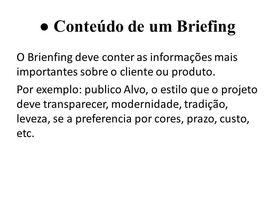 ● Conteúdo de um Briefing
