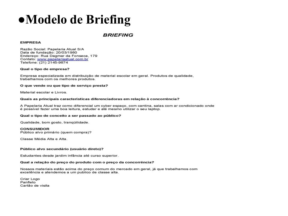 ●Modelo de Briefing