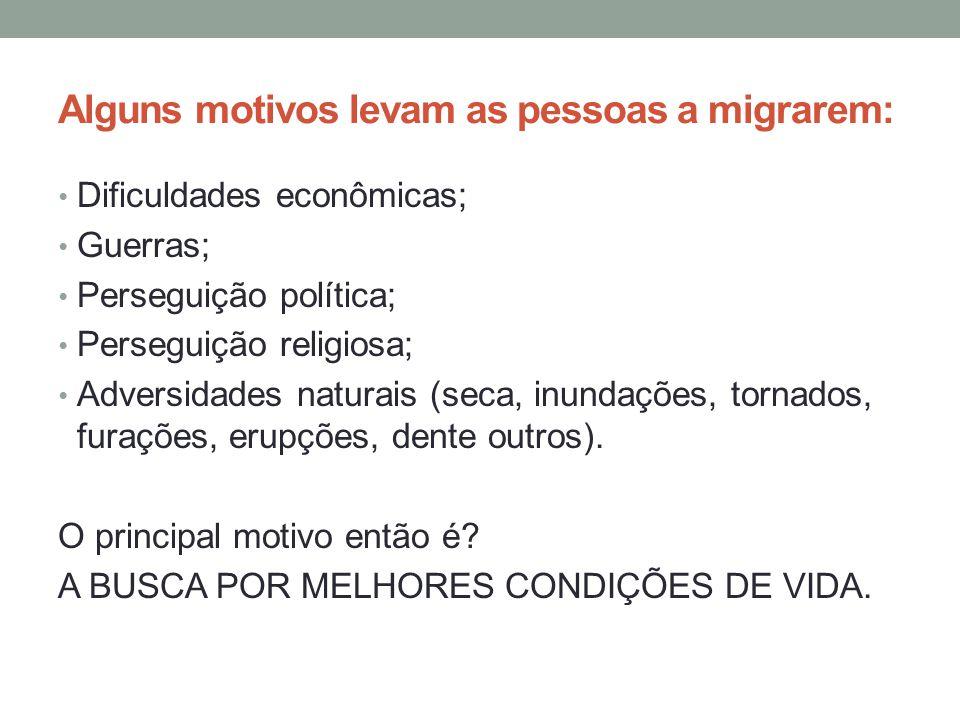 Alguns motivos levam as pessoas a migrarem:
