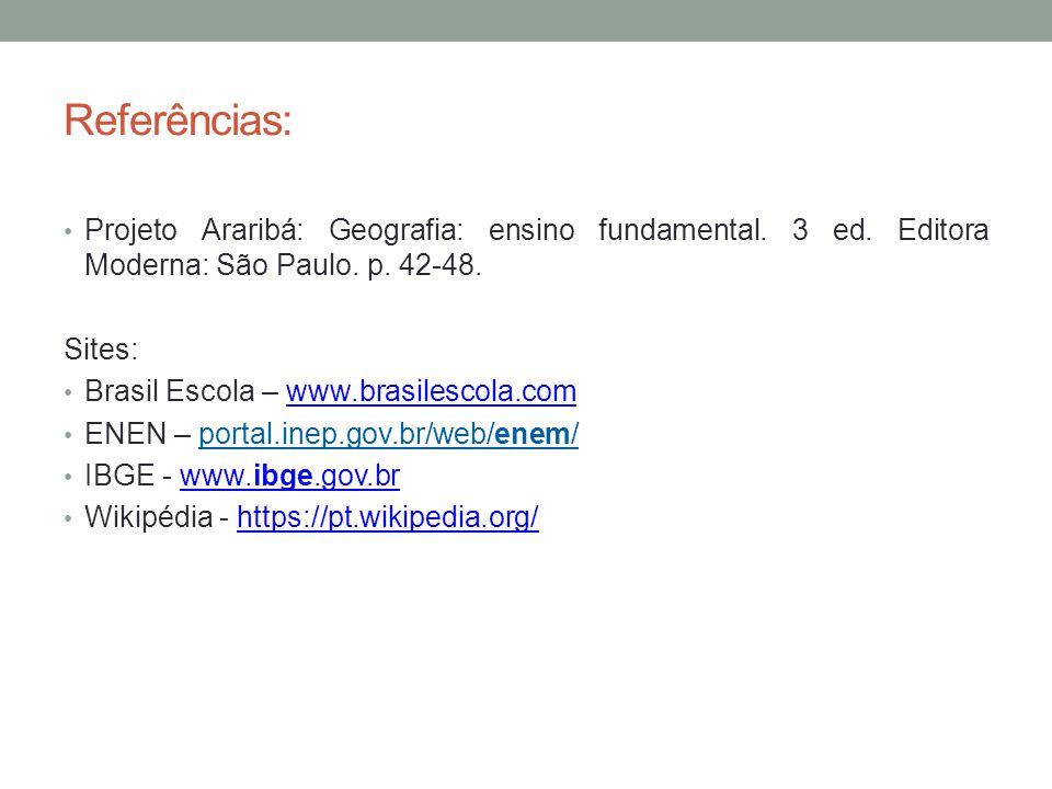 Referências: Projeto Araribá: Geografia: ensino fundamental. 3 ed. Editora Moderna: São Paulo. p. 42-48.