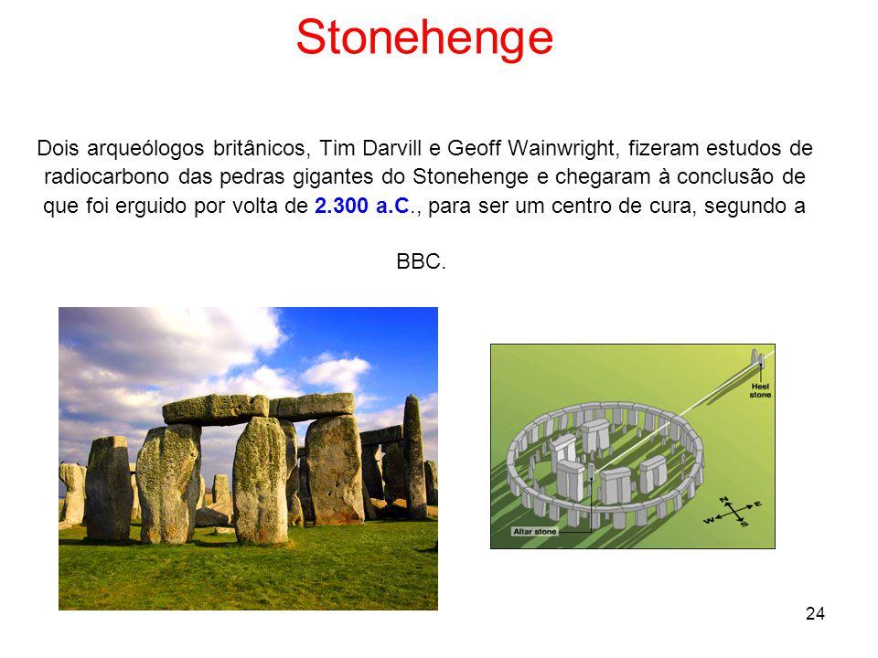 Stonehenge Dois arqueólogos britânicos, Tim Darvill e Geoff Wainwright, fizeram estudos de radiocarbono das pedras gigantes do Stonehenge e chegaram à conclusão de que foi erguido por volta de 2.300 a.C., para ser um centro de cura, segundo a BBC.