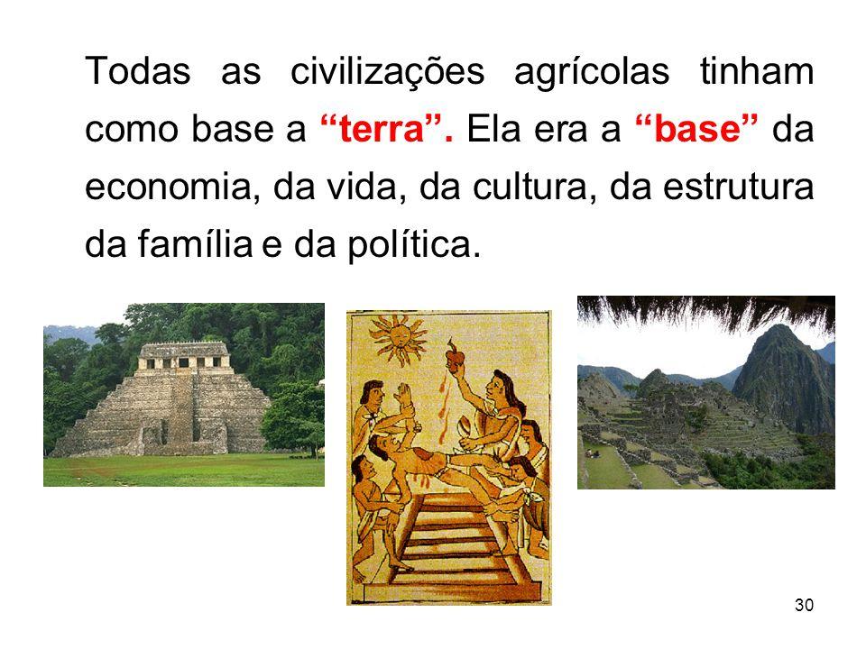 Todas as civilizações agrícolas tinham como base a terra