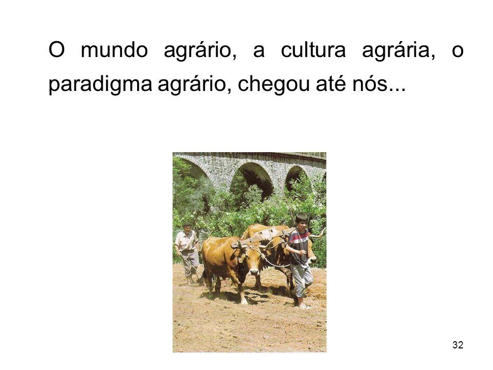 O mundo agrário, a cultura agrária, o paradigma agrário, chegou até nós...
