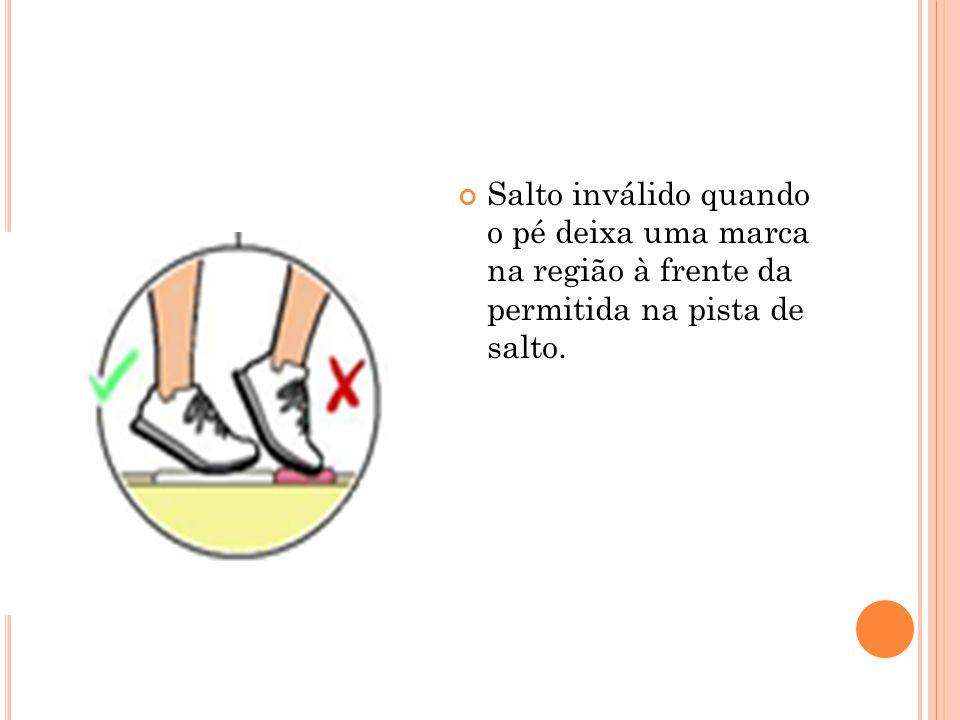 Salto inválido quando o pé deixa uma marca na região à frente da permitida na pista de salto.