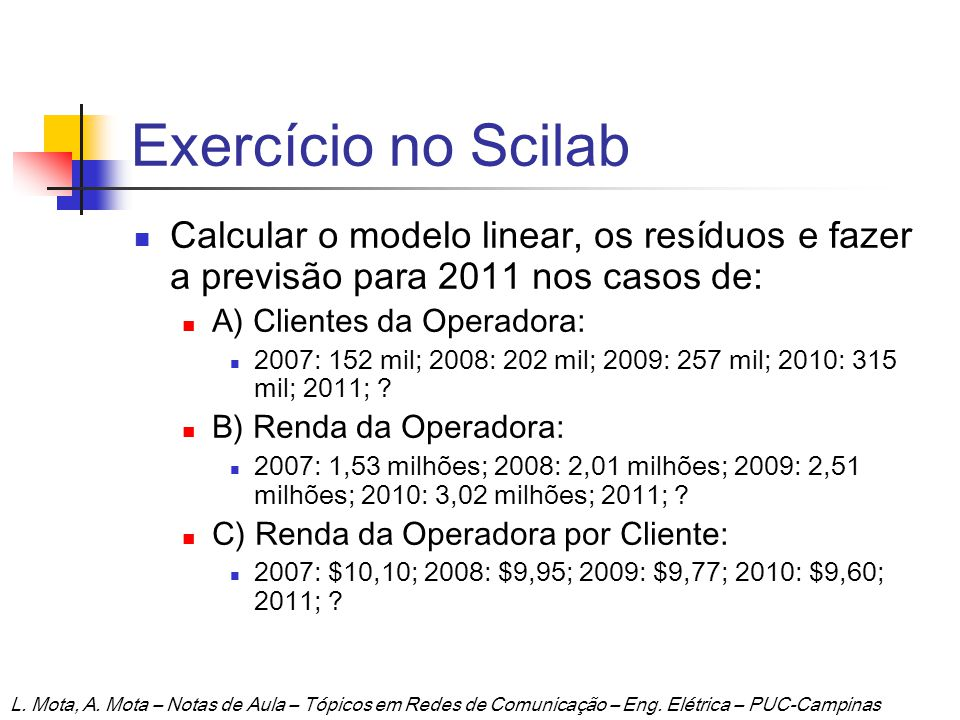 Exercício no Scilab Calcular o modelo linear, os resíduos e fazer a previsão para 2011 nos casos de: