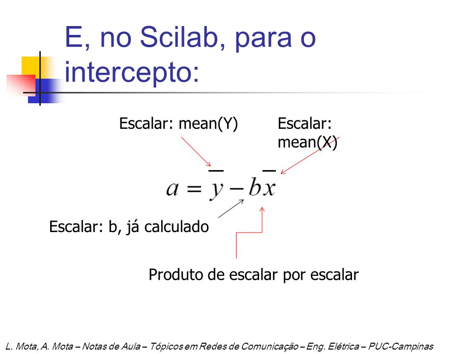 E, no Scilab, para o intercepto:
